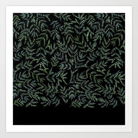 Watercolor leaf pattern Art Print