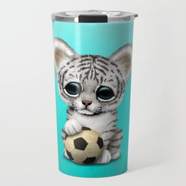 White Tiger Cub With Football Soccer Ball Travel Mug