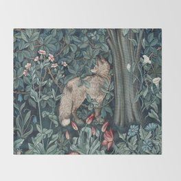 William Morris Forest Fox Tapestry Throw Blanket