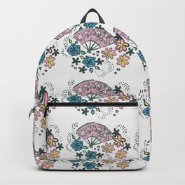 Origami Fan in Ink, Hand Painted Backpack