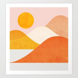 Abstraction_Mountains_Minimalism_001 Art Print