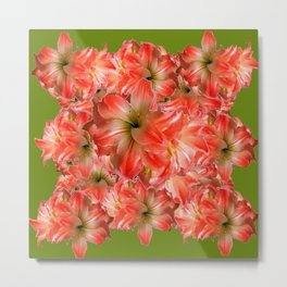 Peppermint Color Amaryllis Flower Avocado Pattern Metal Print