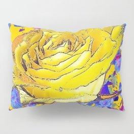GOLDEN YELLOW ART & YELLOW ROSE BLUE MORNING GLORY FLOWERS Pillow Sham