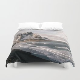 Stokksnes Icelandic Mountain Beach Sunset - Landscape Photography Duvet Cover