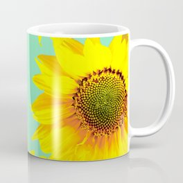 Sunflowers on a pastel green backgrond #decor #society6 #buyart Coffee Mug