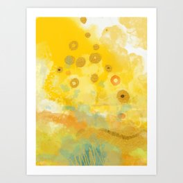 Abstract autumn with gold and warm light Art Print