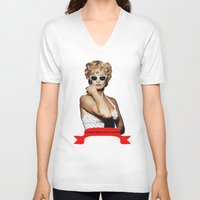 jessica lange V-neck T-shirts featuring Carly Marshall- Jessica Lange by BeeJL