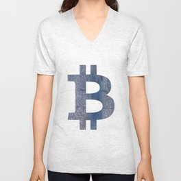 Bitcoin Slate gray vague watercolor painting Unisex V-Neck