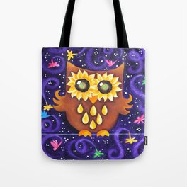 Sunflower Eyed Owl with Dragonflies Tote Bag