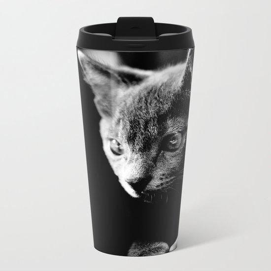 black and white kitten Metal Travel Mug