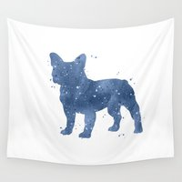 bulldog Wall Tapestries featuring Bulldog by Carma Zoe