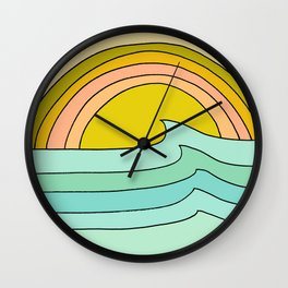 daydreams glassy swells and sunrise radiate by surfy birdy Wall Clock