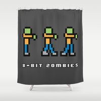 8 bit Shower Curtains featuring 8-BIT ZOMBES LOVE 8-BIT BRAINS by Lewys Williams