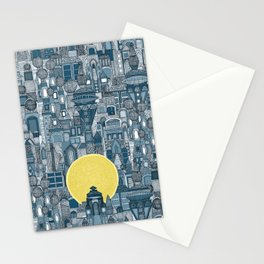 space city sun blue Stationery Cards