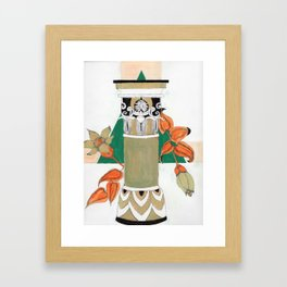 Pillar with flowers Framed Art Print