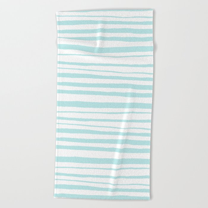 Handmade aqua turquoise Stripes on white - Maritime pattern Beach Towel