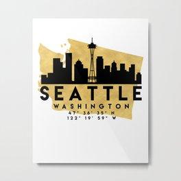 SEATTLE WASHINGTON SILHOUETTE SKYLINE MAP ART Metal Print