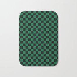 Black and Cadmium Green Checkerboard Bath Mat
