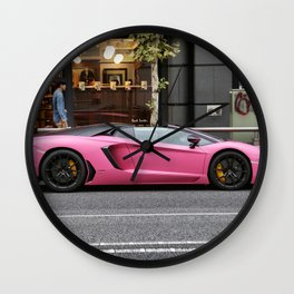 Pink Supercar Wall Clock