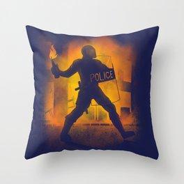 Riot Cop Throw Pillow