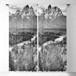 Grand Teton Black & White Wyoming National Park Mountain Landscape Blackout Curtain