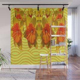 Golden Orange Trumpet Daffodils Pattern Wall Mural