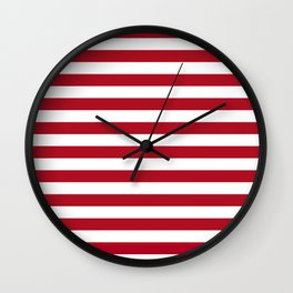 Horizontal Stripes in Red and White Wall Clock