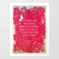 bible verses Art Prints featuring Typographic Motivational Bible Verses - John 1:17 by The Wooden Tree