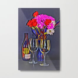 Wine and Flowers Metal Print