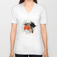 robin V-neck T-shirts featuring Robin by Stroke a Bird