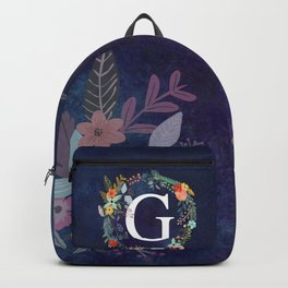 Personalized Monogram Initial Letter G Floral Wreath Artwork Backpack