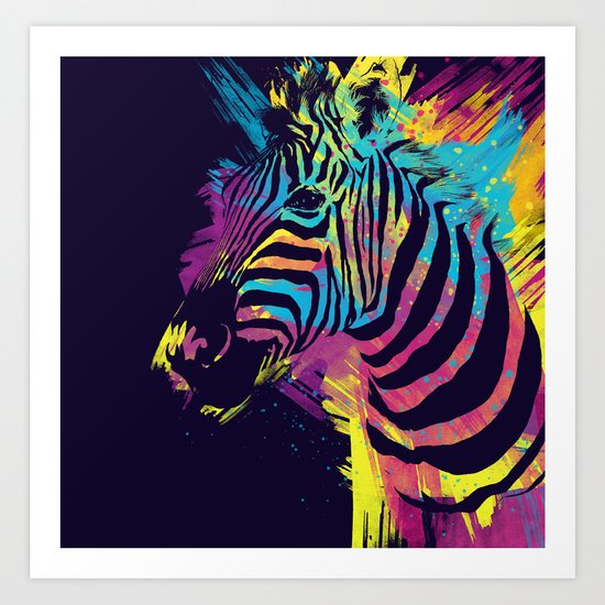 Zebra Splatters Colorful Animals Art Print