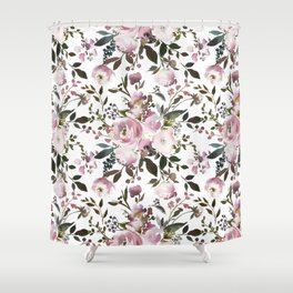Blush rose pink green watercolor elegant floral Shower Curtain