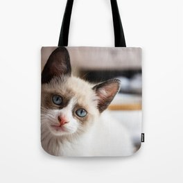 White cat looking Tote Bag