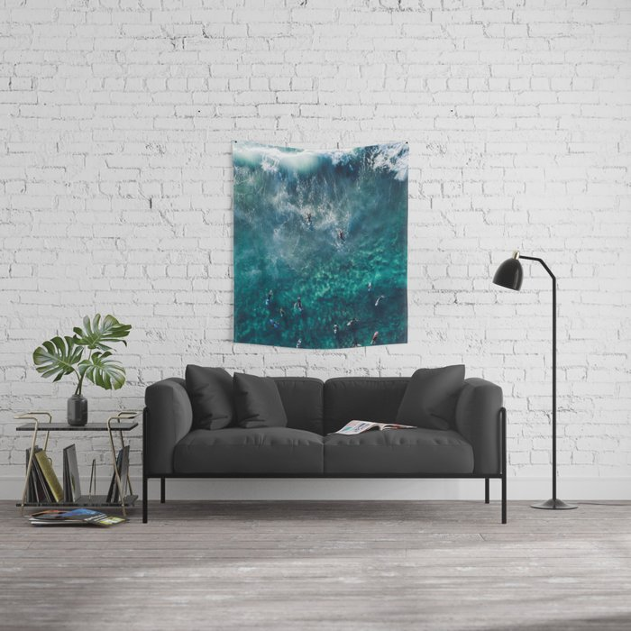 Surfing in the Ocean 2 Wall Tapestry