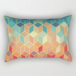 Colorful Squares with Gold - Friendly Colors and Marble Texture Rectangular Pillow