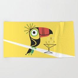 Swank Mid Century Modern Toucan Tiki Bird With Martini Beach Towel