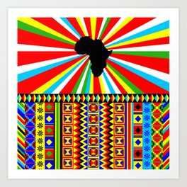 Kente Cloth Pattern with Africa Continent Sun Art Print