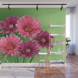 five Gerbra Flowes pink Wall Mural
