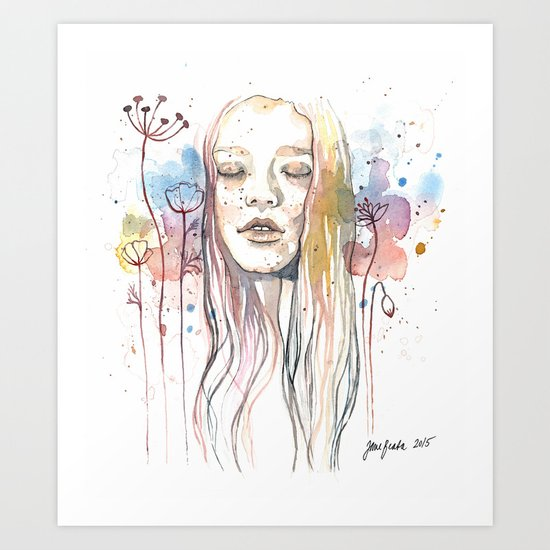 Meditation, watercolor  Art Print