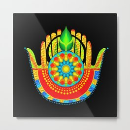 hamsa hand multi fingered and colored Metal Print