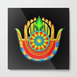 hamsa hand multi fingered and colored Metal Print