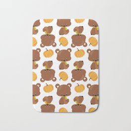 Pattern Of Cute Bears, Pumpkins, Fall Animals Bath Mat