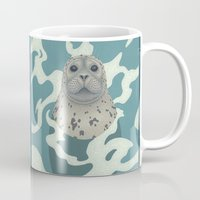 seal Mugs featuring Harbor Seal by Great Gray Art
