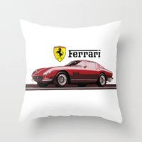 ferrari Throw Pillows featuring Ferrari 275  by kartalpaf
