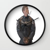 steve rogers Wall Clocks featuring THE PRICE OF FREEDOM - Steve Rogers by Danielle Aragon
