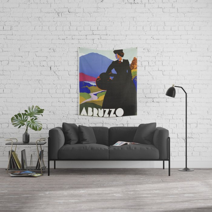 Abruzzo Italian travel Lady on a walk Wall Tapestry