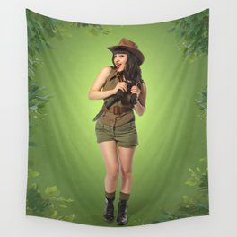 """""""Attention Campers"""" - The Playful Pinup - Jungle Adventure Pin-up Girl by Maxwell H. Johnson Wall Tapestry"""