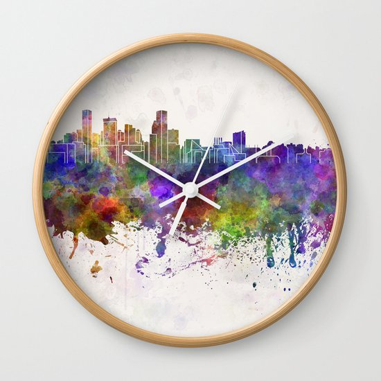 Baltimore skyline in watercolor background Wall Clock