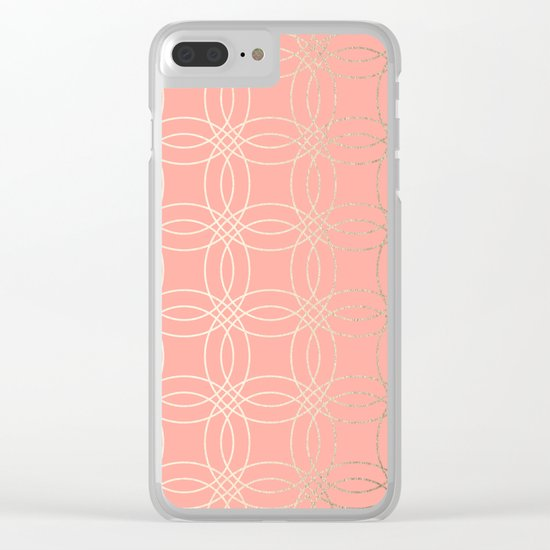 Simply Vintage Link in White Gold Sands and Salmon Pink Clear iPhone Case